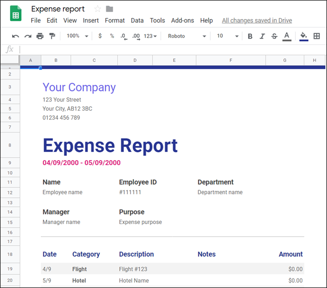 """Una hoja de cálculo de """"Informe de gastos"""" en Hojas de cálculo de Google."""