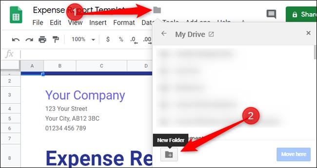 """Haga clic en el icono de la carpeta junto al nombre del archivo y luego haga clic en """"Nueva carpeta""""."""