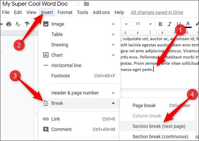 Haga clic para colocar el cursor al final de la página y luego haga clic en Insertar> Salto> Salto de sección (página siguiente).