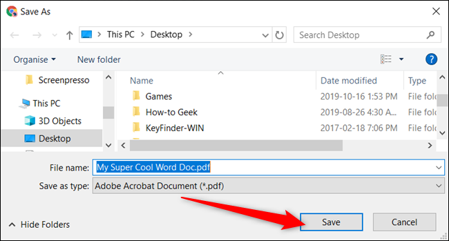 """Choose a destination for the file on your local drive, and then click """"Save"""" to convert your document into PDF format."""