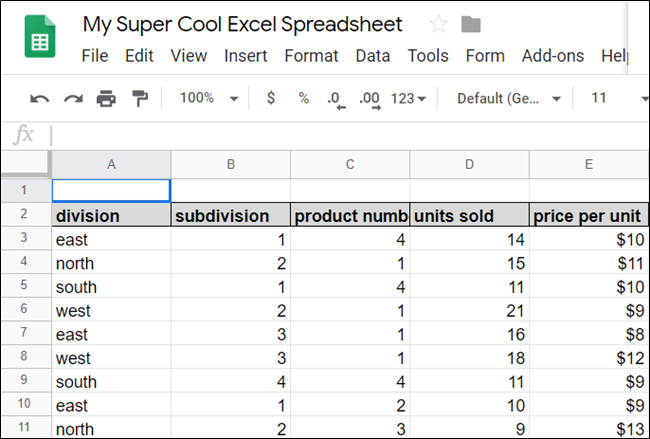 A spreadsheet in Google Sheets.