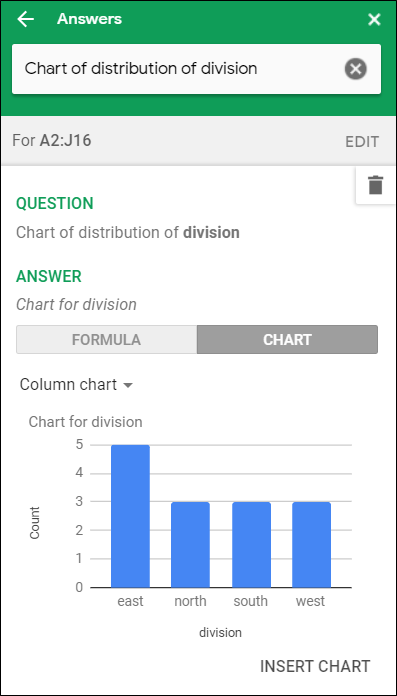 "A column chart showing sales by division in the ""Answers"" section of Explore."