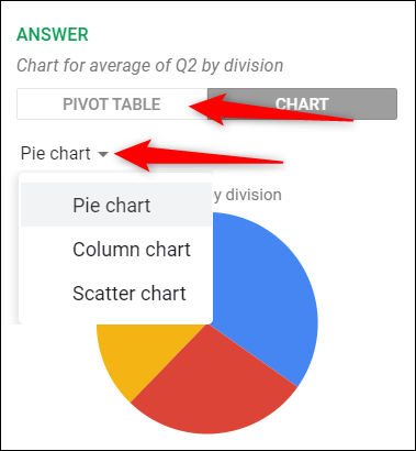 """Click """"Pivot Table"""" or """"Chart,"""" and then select the type of chart you want from the list."""
