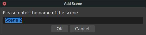 Ventana de diálogo de agregar escenas de OBS