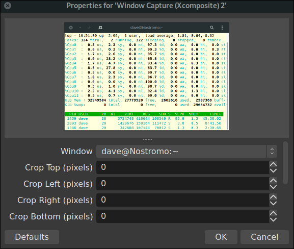 OBS source properties dialog for a window