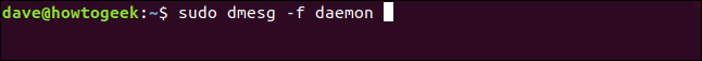 sudo dmesg -f daemon in a terminal window