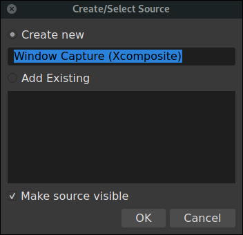 OBS create and select source dialog for a window