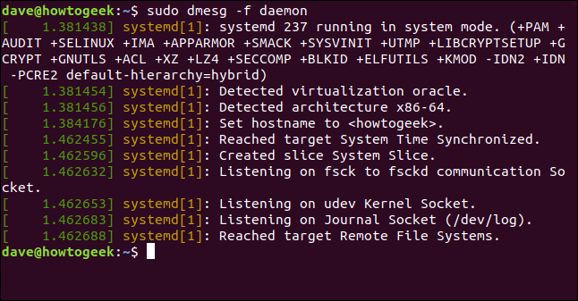 output from sudo dmesg -f daemon in a terminal window