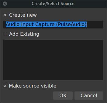 OBS crear y seleccionar el diálogo de origen para un micrófono
