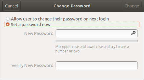 "Click the ""Set a Password Now"" radio button."