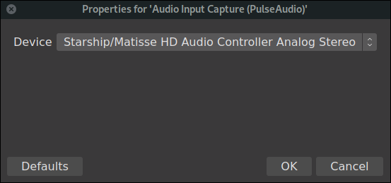 OBS hardware selection dialog for sound source