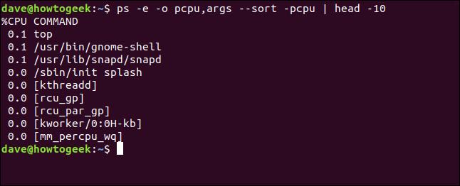 output from ps -e -o pcpu,args --sort -pcpu | head 10 in a terminal window