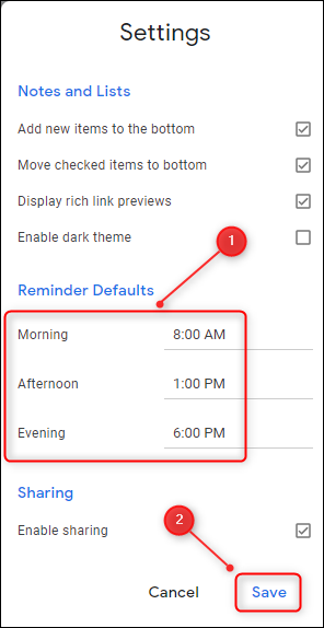 """Change the """"Reminder Defaults"""" to the times you want, and then click """"Save."""""""