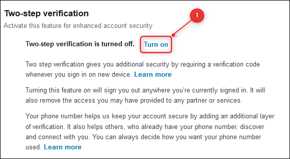 """The """"Two-step verification"""" option with """"Turn on"""" highlighted."""