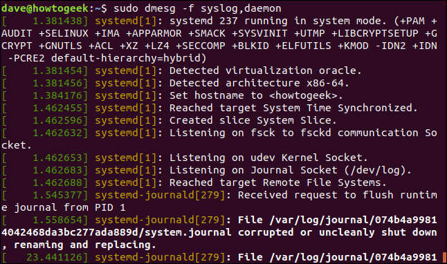 output from sudo dmesg -f syslog, daemon in a terminal window