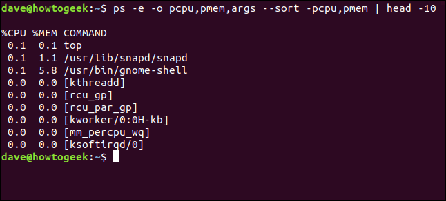 Output from ps -e -o pcpu,pmem,args --sort -pcpu,pmem | head 10 in a terminal window