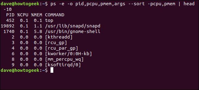 Output from ps -e -o pid,pcpu,pmem,args --sort -pcpu,pmem | head 10