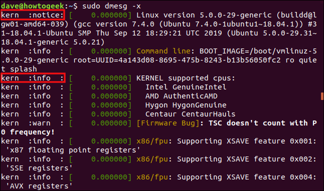 Output from sudo dmesg -x in a terminal window