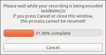 recordMydesktop dialog processing the recording