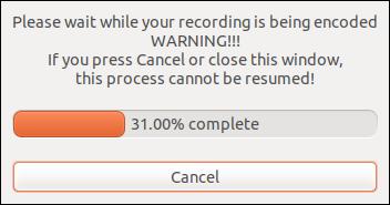 recordMydesktop dialog processing the recording