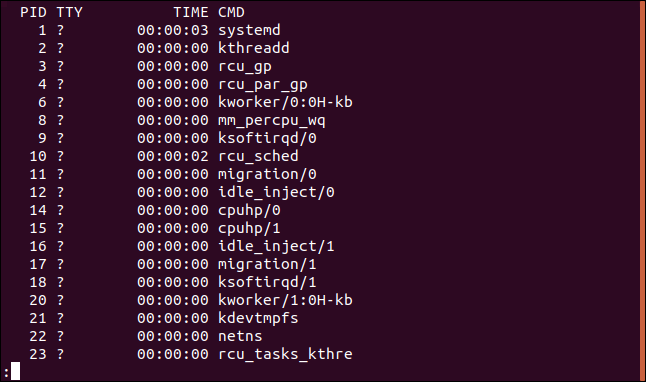 The output from ps -e piped into less in a terminal window