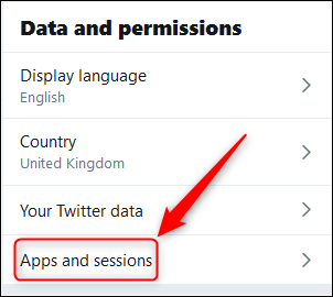"""The """"Data and permissions"""" menu with the """"Apps and sessions"""" option highlighted."""