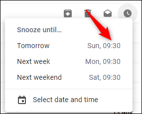 "The ""Snooze Until"" window in Gmail."