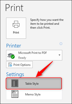 "The Print Settings, with ""Table Style"" highlighted."