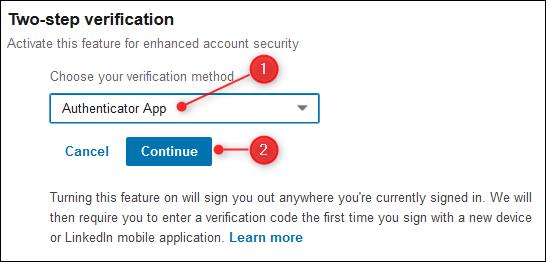 The verification method dropdown.