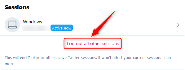 """The """"Log out all other sessions"""" option."""