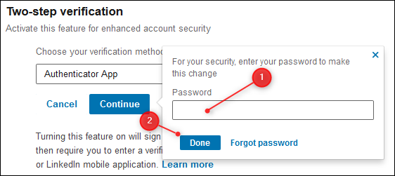 The Password entry field and the Done button.