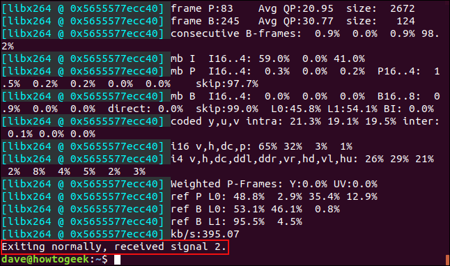 Confirmation message in a terminal window that ffmpeg closed normally