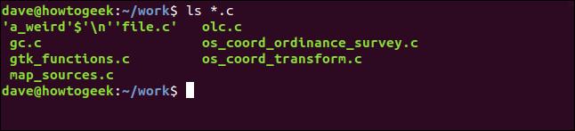 ls *.c in a terminal window
