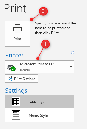Outlook's Print options, with the Printer choice and Print button both highlighted.