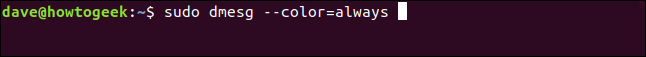sudo dmesg --color=always in a terminal window