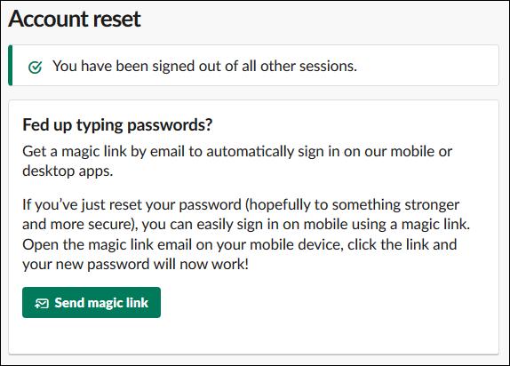 """Slack's """"Send magic link"""" option."""