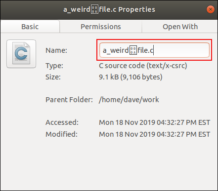 Filename with a control characater in it, in the renaming dialog window