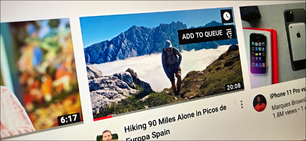 Add to Queue button shown on a video thumbnail in YouTube website