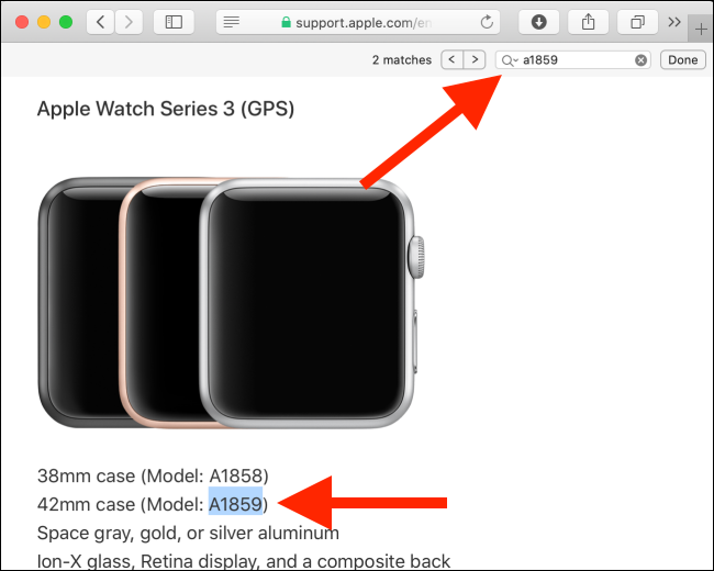 Apple Watch Identification page