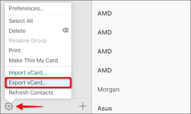 """Click """"Export vCard."""""""