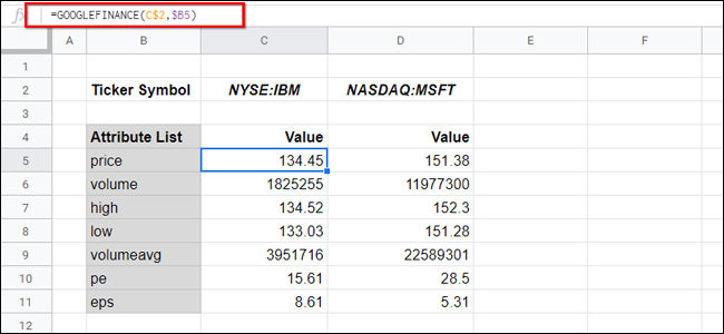 Google Finance Sheets with Attributes