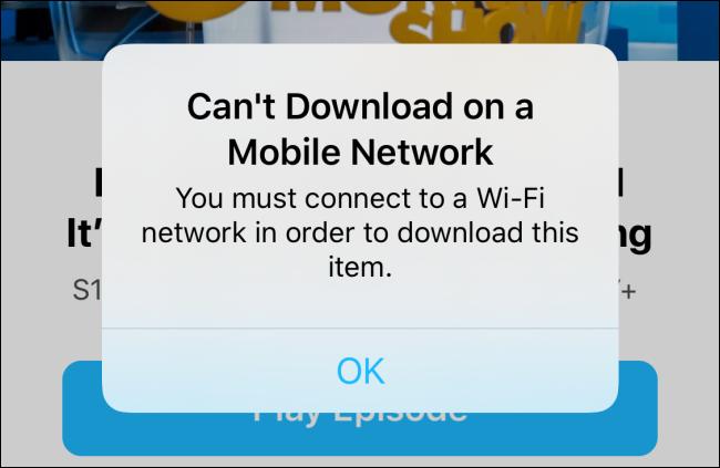 Can't download on cellular alert