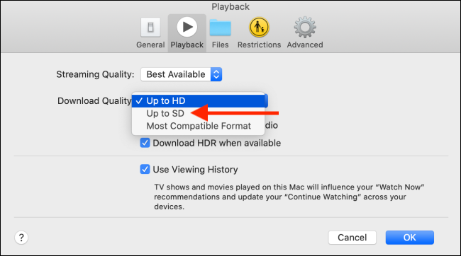 Change the download quality