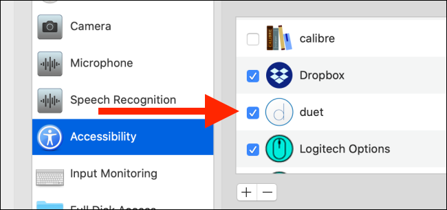 """Click """"Accessibility,"""" and then click the box next to """"Duet."""""""
