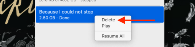 Click on Delete from the right click menu