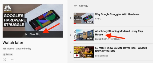 Click on a video from the Watch Later playlist to start the playback on web