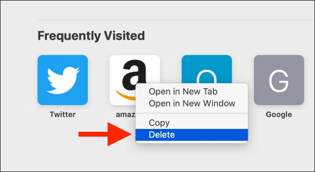 Haga clic en eliminar para eliminar un sitio web visitado con frecuencia