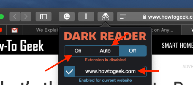 Click to turn on Dark Reader extension in Safari