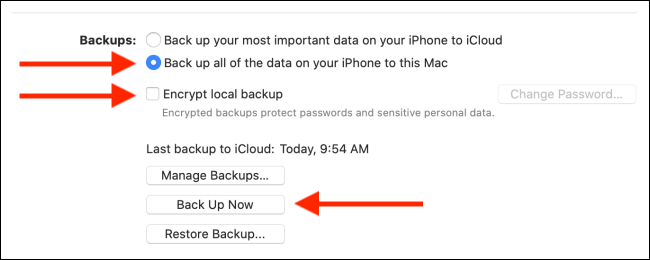 Configure settings and then click on Back Up button