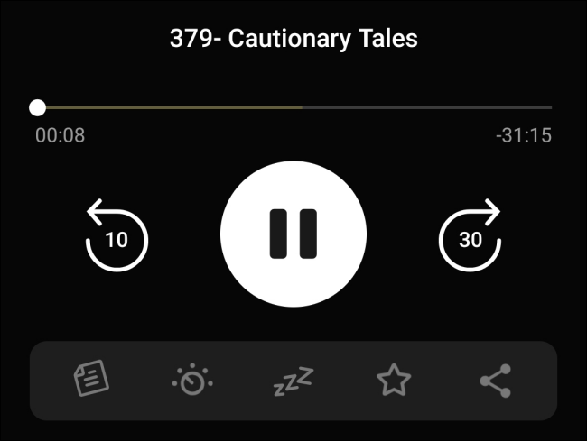 The expanded Now Playing menu in Pocket Casts.